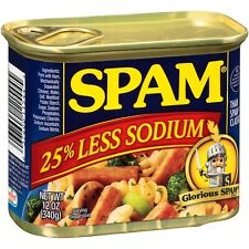 Hormel Spam Luncheon Meat Can 25% Less Sodium 12 oz Can - 4 Pack - FREE Shipping