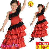 Girls Spanish Princess Costume Child Flamenco Book Week Kids Mexican Fancy Dress