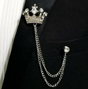 Men's Clear White CZ In 925 Sterling Silver Party 'Crown' Lapel Pin Chain