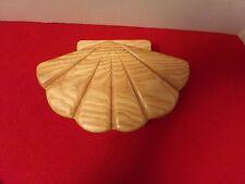 Handcraft Fan/Shell Shaped Wood Trinket/Jewelry Box Felt Lined  by A.R. Burgess