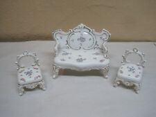 Antique Porcelain Doll House Furniture Three Pieces White With Flowers