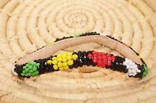 Medium ethnic tribal boho jbdt8 African Dogon Beaded Leather Bangle Bracelet