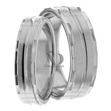 7mm & 5mm Wide Matching Wedding Ring Set Solid 14K Gold Designed Edges Sz10