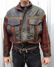 VINTAGE 80's Leather & Wool SOUTHWEST BOMBER JACKET M Rockabilly RETRO