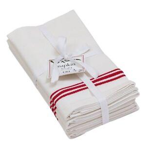 Set of 4 White and Red BISTRO STRIPE 100% Cotton Napkins