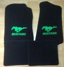 Autoteppich Fußmatten für Ford Mustang 1994'-2004' schwarz neongrün Neu 4teilig
