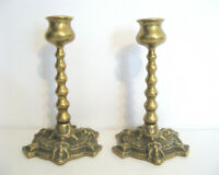 Vintage Brass Candlesticks Pair of Candle Holders Barley Twist Green Man