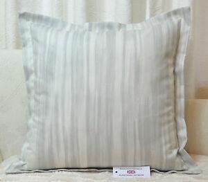 "Handmade CUSHION COVER 22.5""x22.5"" (57cm) Oxford Style 'Sara' Grey Stripe Cotton"
