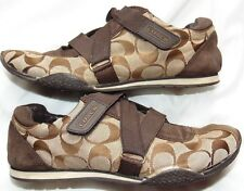 Womens Brown Signature COACH Kyrie Velcro Sneakers Shoes Sz 7.5