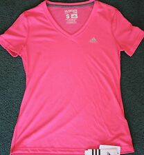 NWT Womens Adidas S Pink/Silver V-Neck Ultimate Tee Shirt Small 4-6