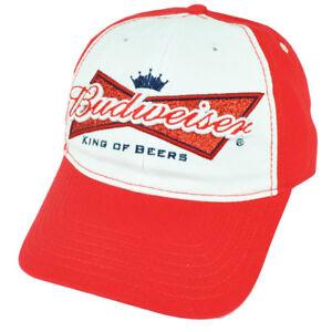 Budweiser King Of Beers Glitter Ladies Red White Sun Buckle Hat Cap Malt 2Tone