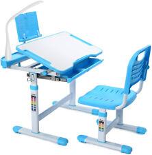 Kids Study Desk Chair Set Adjustable Writing Table Desk W/ Storage Drawer & Lamp