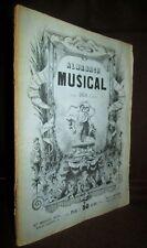 «ALMANACH MUSICAL» gravure engraving Musique Music Partition Chant 1858 rare !
