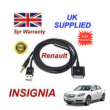 Renault Insignia Audio System iPhone 3GS 4 4S iPod USB & 3.5mm Aux Cable black