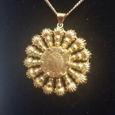 Fancy 14k Solid Bezel set a Small 1854 California Gold Token Pendant / Charm