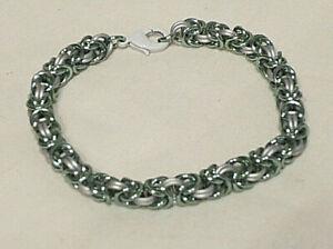 Handmade Chainmail Bracelet 6mm Byzantine Light Silver Green Matte Silvre Maille