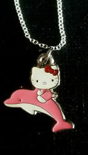 Hello Kitty with Pink Dolphine swimming Ocean charm necklace