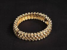 Vtg gold tone bracelet costume thick chunky hinged textured