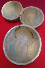 ANTHROPOLOGIE - Vintage Olive Wooden Triple Serving Bowl