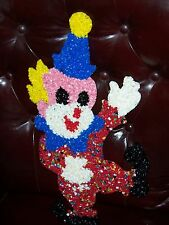 VINTAGE MELTED PLASTIC POPCORN WALL DECOR, HAPPY CLOWN