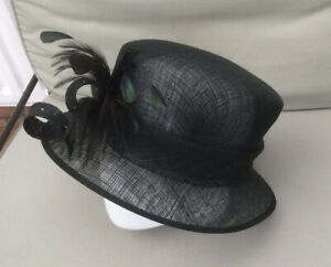 FORMAL HAT BLACK 100% NATURAL FIBRES WEDDINGS RACES BY HAT BOX SIZE M/L