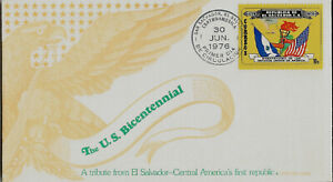 EL SALVADOR TRIBUTE TO  USA BICENTENNIAL FIRST DAY COVER FLAGS MAP TORCH
