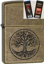 Zippo 29149 tree life antique brass Lighter with *FLINT & WICK GIFT SET*
