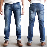 Nudie Herren Slim Fit Stretch Jeans Hose | Thin Finn Organic Strikey | Blau