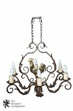 """Dana Creath Designs Forged Iron Chandelier Brass Rooster Farm House Country 36"""""""