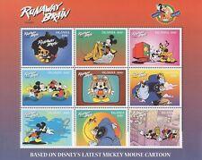 Disney Stamps - Uganda Runaway Brain - Disney sheet of 9 Stamps Mnh