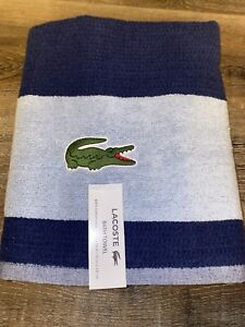 "Lacoste ~ Blue Bath Towel 100% Cotton 30"" x 52"" Blue Big Crocodile Logo (A)"