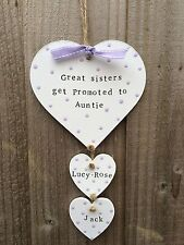Handmade Personalised Plaque Wooden Heart Auntie Sister Christmas Present Gift