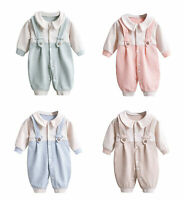 Newborn Baby Strap Jumpsuit Outfit Unisex Infant Boy Girl Long Sleeve One-Pieces