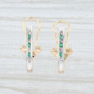0.23ctw Emerald Diamond Journey Earrings 14k Gold J-Hook Pierced Omega Backs