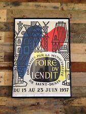 LARGE ORIGINAL c1957 SAINT DENIS FOIRE DU LENDIT FRENCH POSTER PARIS MID CENTURY