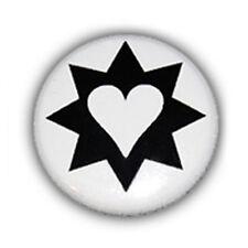 Badge COEUR ETOILE ♥ Noir BLANC heart star black kawaii tattoo rockabilly  Ø25mm