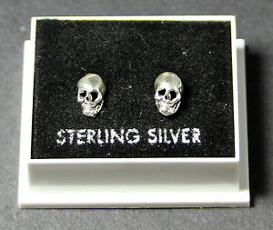 STERLING SILVER 925 STUD EARRINGS  SKULL DESIGN  WITH BUTTERFLY BACKS STUD 28