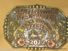 Customizable Mortenson Ranch Rodeo Trophy Belt Buckle Mounted Engraved Silver