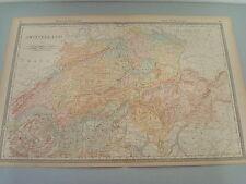 RARE 1888 ANTIQUE MAP OF SWITZERLAND