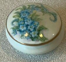 Vintage Hand Painted Porcelain Floral Blue Covered Dresser Box Container Small