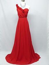 Cherlone Chiffon Red One Shoulder Ballgown Wedding Evening Bridesmaid Dress 16