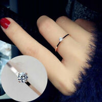 Women Ring Slim Crystal Zircon Finger Rings Simple Band Jewelry Gift  Charm