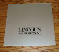 Original 1981 Lincoln Deluxe Sales Brochure 81 Town Car Signature Series