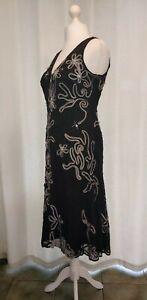 Veni Infantino For Ronald Joyce Black Ribbon Beaded Evening Cruise Dress Size 16