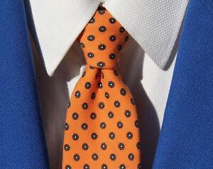 Garys & Company Gentleman's Orange and Blue Floral 100% Wool Necktie
