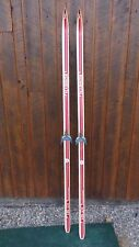"""GREAT OLD Wooden 82"""" Skis Signed EDSBYN with RED WHITE Finish"""