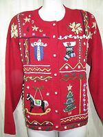 TIARA Ugly Christmas Sweater PM Petite Medium Red Embroidered Tree Candy Cane