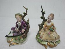 PAIR VINTAGE CAPODIMONTI LACE BOY & GIRL SITTING with DOVE & FLOWERS FIGURINES