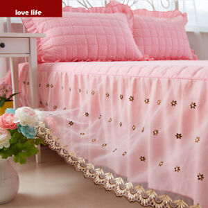 lace bed skirt cotton-padded bedspread full queen king size pillowcases on sales
