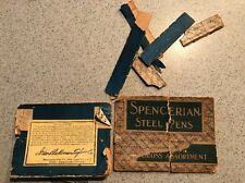 ANTIQUE SPENCERIAN STEEL PENS Box Pieces With Signature Old Rare